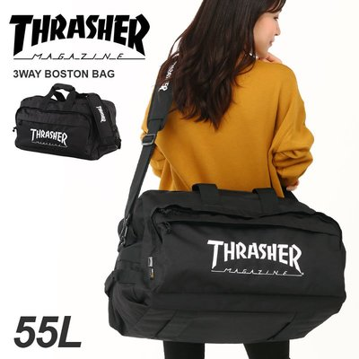 THRASHER Logo 大容量旅行袋 3WAY 多功能 滑板後背包 耐用增強 合宿 55L大尺寸 LUCI日本代購