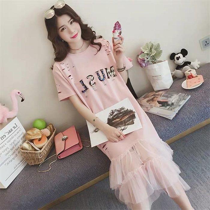 韓版氣質網紗裙魚尾裙長裙蕾絲裙洋裝