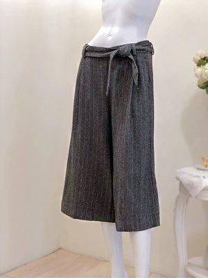 義大利 OLIVIA HOPS 條紋毛料寬褲(灰黑黃)