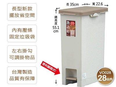 4個免運『發現新收納箱Keyway長島28公升垃圾桶VO-028』腳踏式紙屑桶:扁高形狀,內裝垃圾袋不外露。公司機關採...