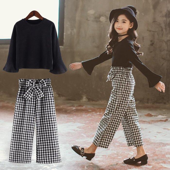 『媽咪貝貝』女童套裝網紅洋氣韓版中大兒童春裝2019新款時髦上衣格子兩件套潮