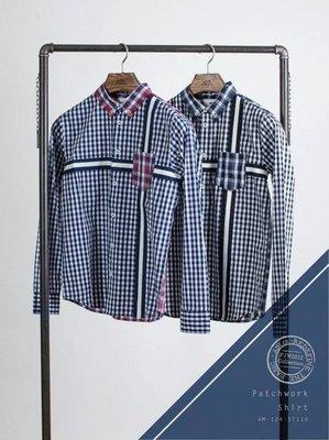 【YOYOGI PLUS】ADLIB - 錯拼接式格紋長袖襯衫 (紅 / 藍:S~L)