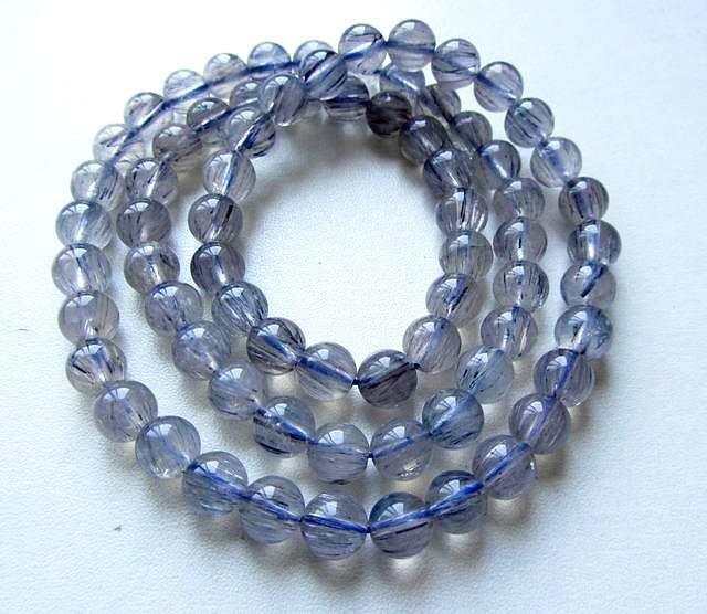 絕版全順藍髮晶髮絲清晰AAA級7.5mm/45g-b藍髮繞三圈多圈手鍊手鍊手串手珠佛珠珠寶玉石寶石首飾飾品