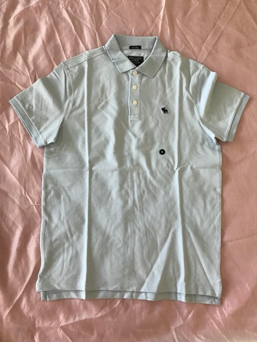 【天普小棧】A&F Abercrombie&Fitch Relaxed Stretch Icon短袖彈性POLO衫M號