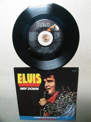 早期 黑膠唱片 美國 貓王 Elvis Presley 45轉 Way Down 和 Pledging My Love
