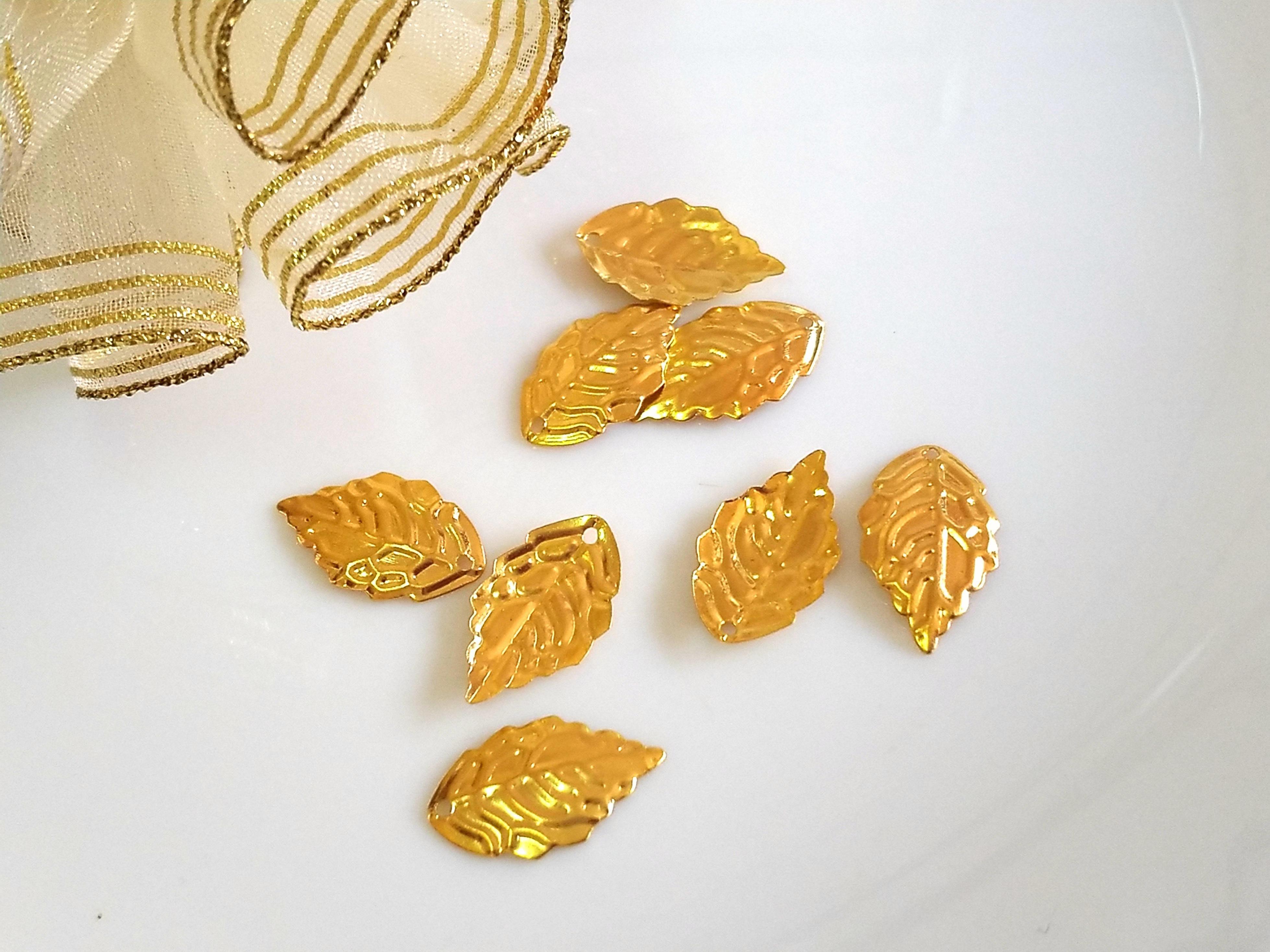 金色花片古風髮簪(1.8*1公分-1個1元) DIY材料古風宮花髮簪-髮飾配件-髮叉步搖-吊墜-金屬框滴膠-古2牛手創