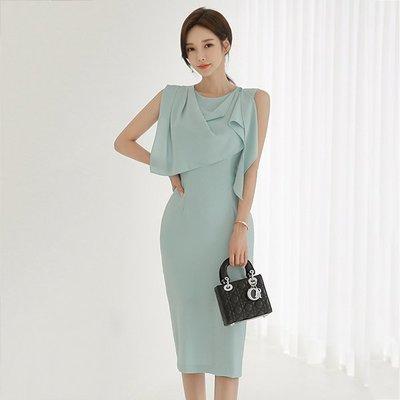 【Sweet 韓國連線】韓版修身顯瘦收腰無袖荷葉邊連身裙洋裝-S~XL 9240【現貨+預購】