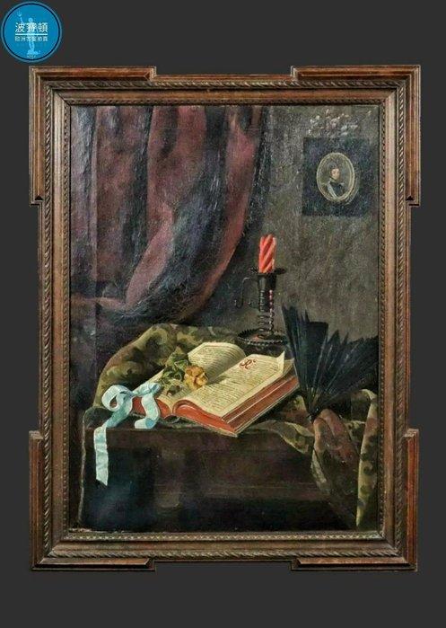 【波賽頓-歐洲古董拍賣】歐洲/西洋古董 法國古董 手繪油畫 書房一隅 靜物畫 (尺寸:83×62公分)(年份:1880-1900年)