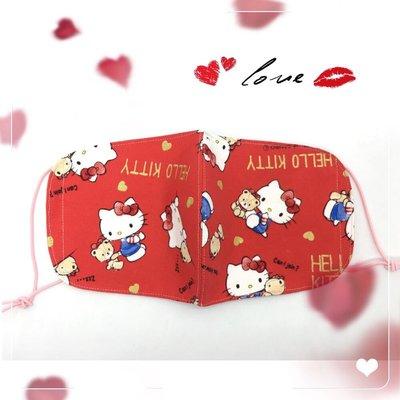 【小荳苗】zakka 手作--日本卡通專利厚棉布~紅色凱蒂超透氣型立體口罩(新品上市)