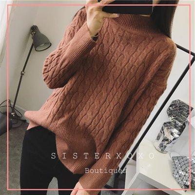 Sis KOREA style 韓國貨代購 簡約質感  優雅厚實高領毛衣 麻花編織設計感 側開叉毛衣 歐美風針織衫