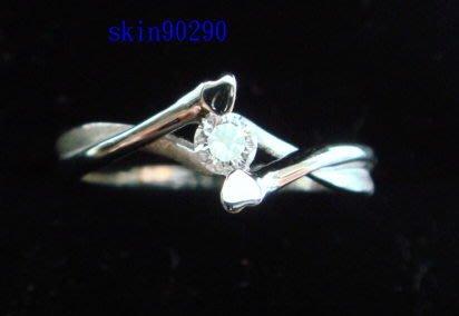 ((瑪奇亞朵的珠寶世界)) 豪華鑲嵌白色鑽石K白金戒指  主石0.10ct
