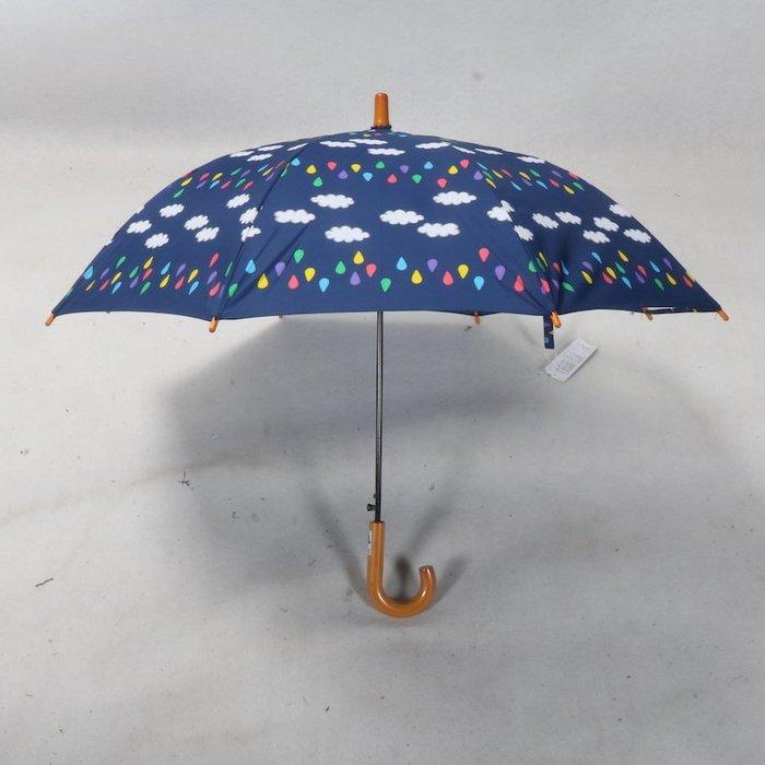 奇奇店-木制童趣設計彩色雨滴白云一片式透明安全兒童學生小孩雨傘#加固 #小清新 #晴雨兩用