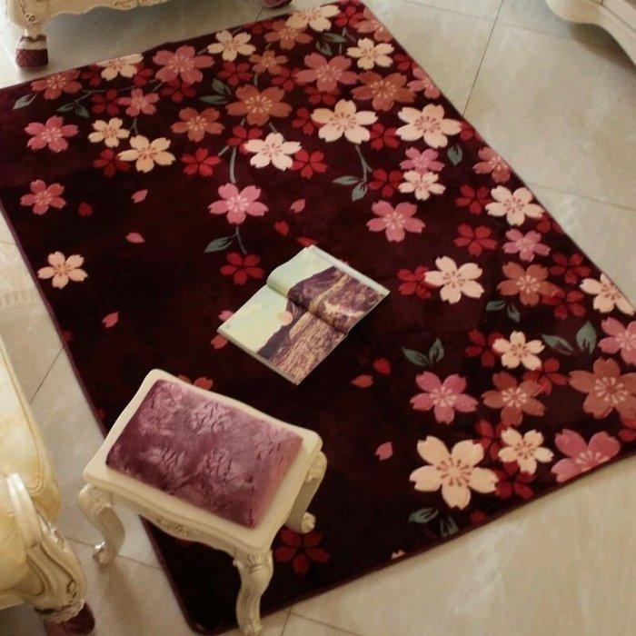 粉紅玫瑰精品屋~田園棕色櫻花地毯 床邊毯~