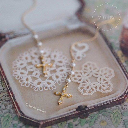 BD16-法式手工輕珠寶-尋找一個信仰。復古雕刻十字架+珍珠長耳線耳環 agete tiffany co Cartier