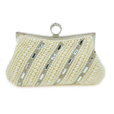 晚宴 包 珍珠手拿包-時尚優雅氣質鑲鑽女包包2色73su26[獨家進口][米蘭精品]