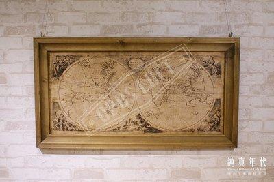 【OPUS LOFT】6AD1944 復古 楊木框 世界地圖 掛畫