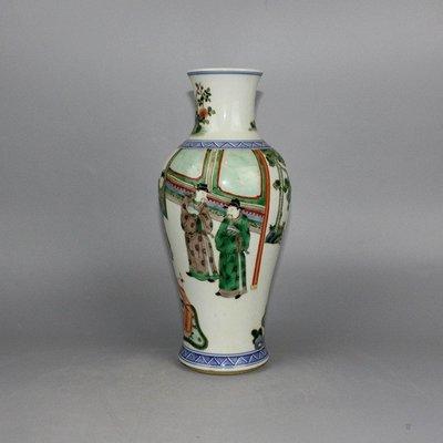 ㊣三顧茅廬㊣ 清五彩人物觀音瓶細工重彩線條流暢 高檔精品瓷古玩