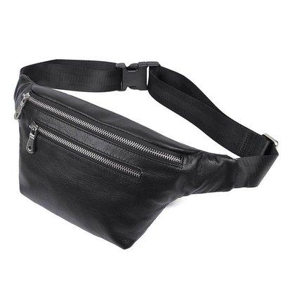 腰包真皮肩背包-黑色牛皮實用多隔層男包包73vx9[獨家進口][米蘭精品]