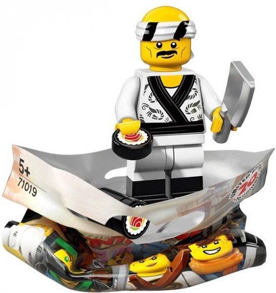 現貨【LEGO 樂高】積木 / 人偶包系列 忍者電影 71019   #19 壽司師傅+菜刀+壽司 Sushi Chef