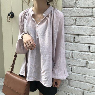 夏裝  復古減齡寬松BF百搭微透純色燈籠長袖襯衫女防曬衫