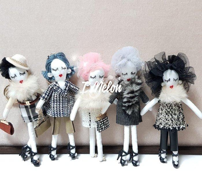 ::: i-MelOn ::: 100%韓國空運 正韓【現貨】韓國手工製作Doll時尚娃娃吊飾包包掛件鑰匙圈※小香風
