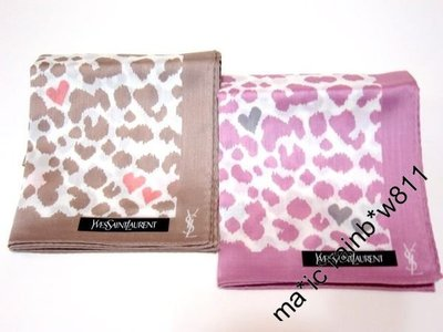 YSL 心心 豹紋 logo 方巾 , 手帕 , 頸飾 , 購自日本 YS0100