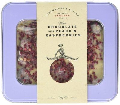 [要預購] 英國代購 英國CARTWRIGHT & BUTLER 覆盆莓白巧克力片 鐵盒裝 100g