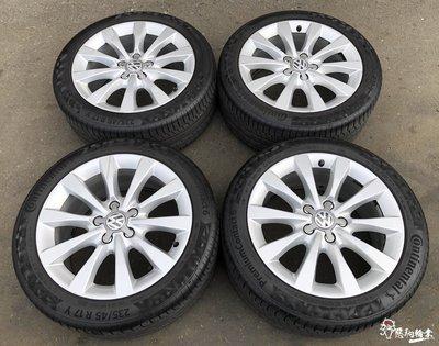 二手/中古鋁圈輪胎 原廠 奧迪 福斯 17吋 5孔112 銀 含胎 馬牌 PC6 235/45-17 PASSAT A4