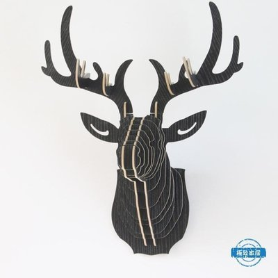 壁飾木質麋鹿頭壁掛 動物頭玄關墻飾照片墻wy 【全館免運】