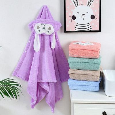 糖衣子輕鬆購【AS0215】兒童斗篷浴巾連帽珊瑚絨沙灘巾卡通浴巾