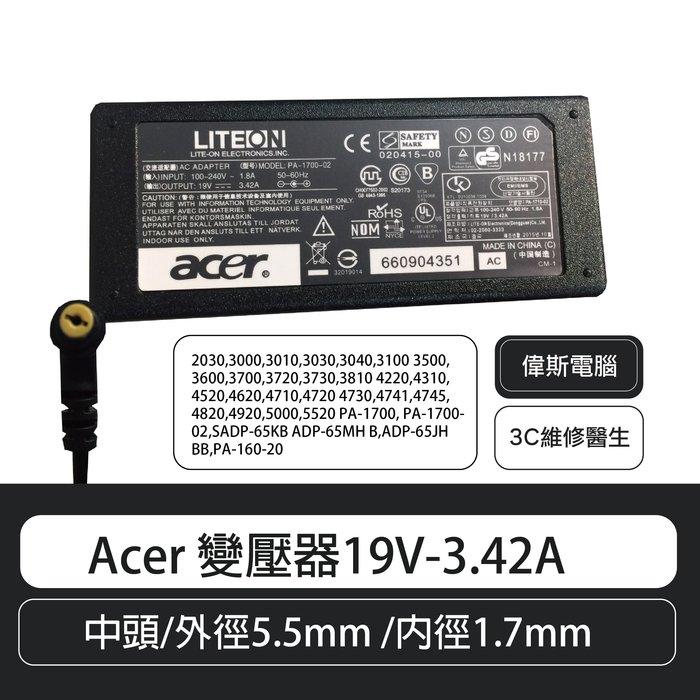 【偉斯電腦】Acer 變壓器19V-3.42A 中頭/外徑5.5mm /內徑1.7mm
