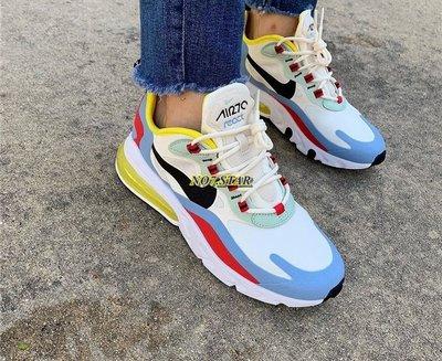 Nike Air Max 270 React 藍 白 米黃 紅 黃氣墊 休閒 彩虹 黑勾 男女鞋  AT6174-002