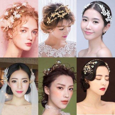 手工新娘頭飾復古金色巴洛克皇冠耳環結婚發飾創新娘飾品紅色—莎芭
