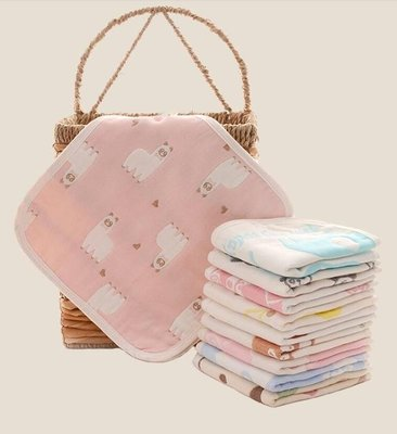 6條裝紗布口水巾兜嬰兒毛巾洗臉純棉兒童寶寶新生兒方巾手帕方形
