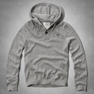 Maple麋鹿小舖 Abercrombie&Fitch * AF 灰色針織長袖連帽毛衣 * ( 現貨XXL號 )