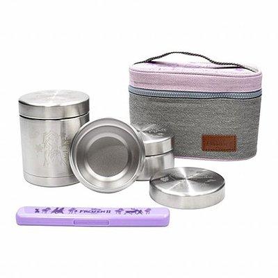 ♀高麗妹♀韓國 Disney FROZEN II 冰雪奇緣2 304不鏽鋼 圓形便當盒3入+餐筷組+手提包(預購)