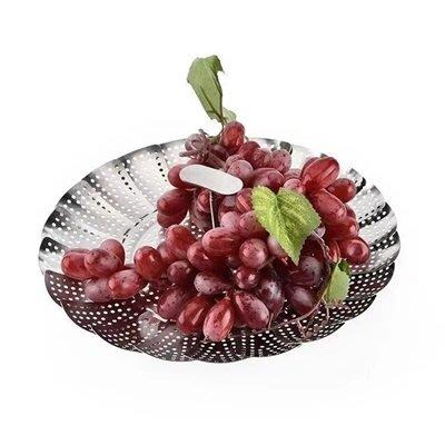 蒸籠 不鏽鋼瀝水籃(2入)-11吋摺疊多用途花型水果籃73pp636[獨家進口][巴黎精品]