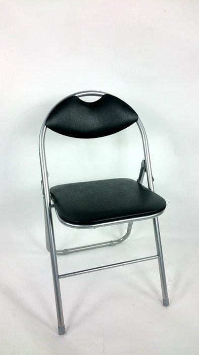 [兄弟牌休閒傢俱]卡羅有背折疊椅(黑色)~PVC+泡棉靠座墊,折疊椅優惠價 2 張/760元~會議,營業用、居家便利