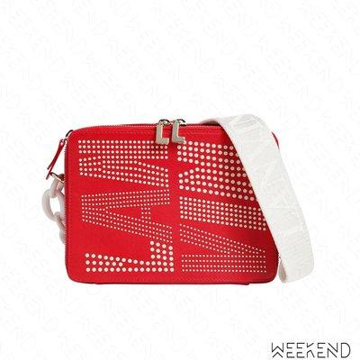 【WEEKEND】 LANVIN Small Toffee 大Logo 多孔 小款 皮革 肩背包 紅色