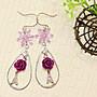 淺紫花都 水晶垂墬耳環.Jill&Joe獨家盤線 手作設計 18Kgf抗過敏.雅緻鐵塔.施華洛世奇元素