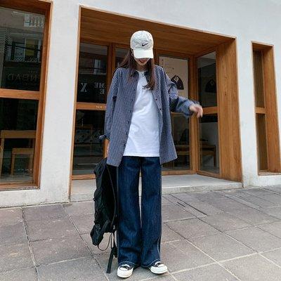 My fit guys 休閒 復古街頭原宿 格子格紋 長袖上衣 襯衫 BOYISH 藏青細格 經典款 上衣 預購
