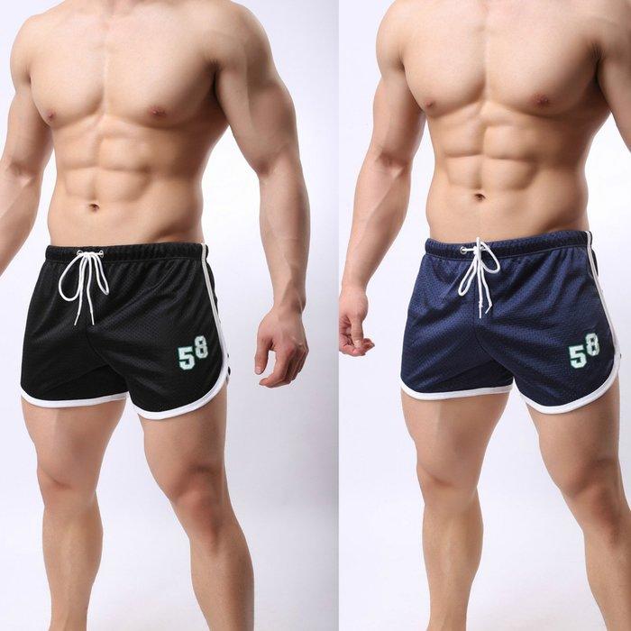 男士大碼運動短褲速干透氣大平角褲休閒短褲雙層運動健身網孔短褲