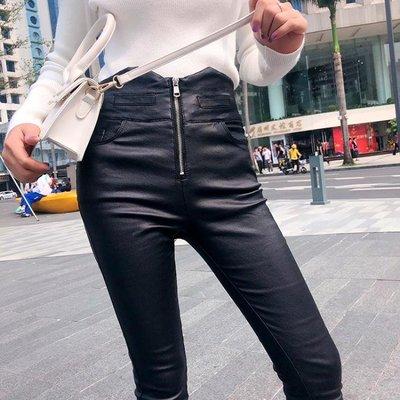 每週新品加絨秋冬高腰拉鍊涂層皮褲女2019新款外穿打底褲黑色亞光小腳褲潮