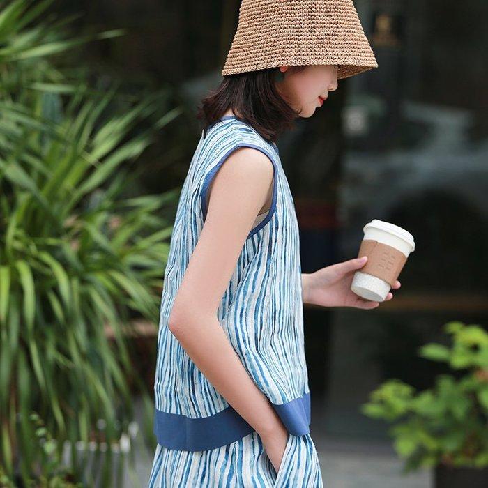 【鈷藍家】棉麻臆想 夏季輕薄高支亞麻背心條紋拼色無袖上衣女無袖小衫