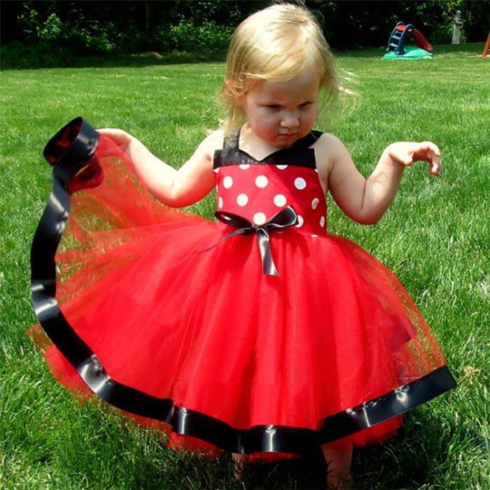 韓版《紅點點細肩》甜美洋裝 禮服裙 (J3-3)