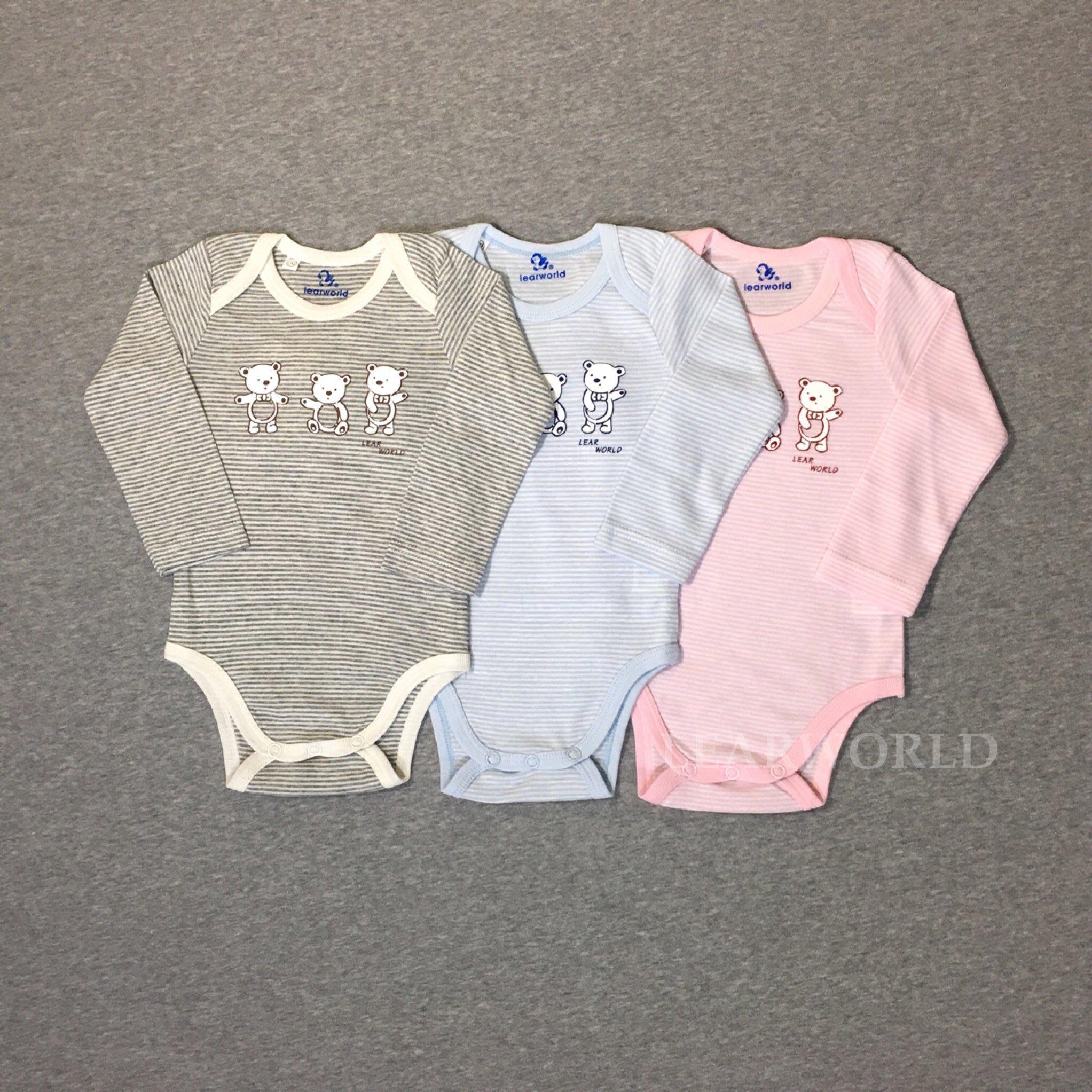 薄款 儷兒世界 32065三隻熊翻領包屁衣 連身衣 單件-台灣布料 台灣製造
