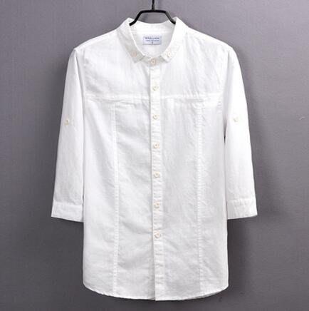 七分袖亞麻襯衫 男裝素面修身透氣棉麻料寬松大碼上衣潮—莎芭