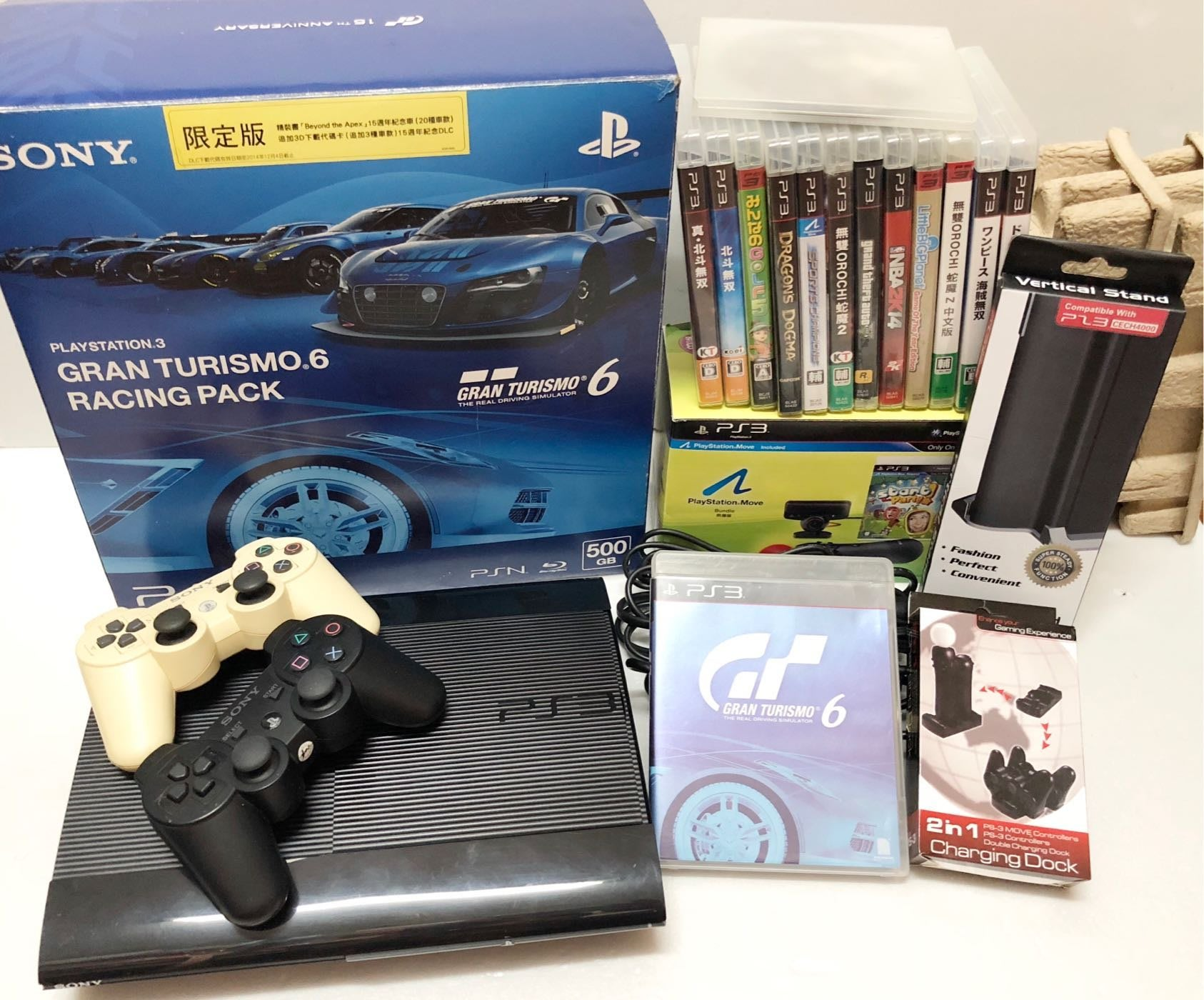 Sony PlayStation3 Slim GT6 同捆限量版CECH-4007C 500GB 、原廠手把*2、遊戲x14、PS Move 組合