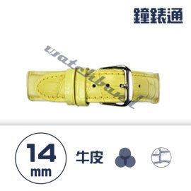 【鐘錶通】C1.04KW《繽紛系列》鱷魚壓紋-14mm 鵝黃┝手錶錶帶/高質感/牛皮錶帶┥