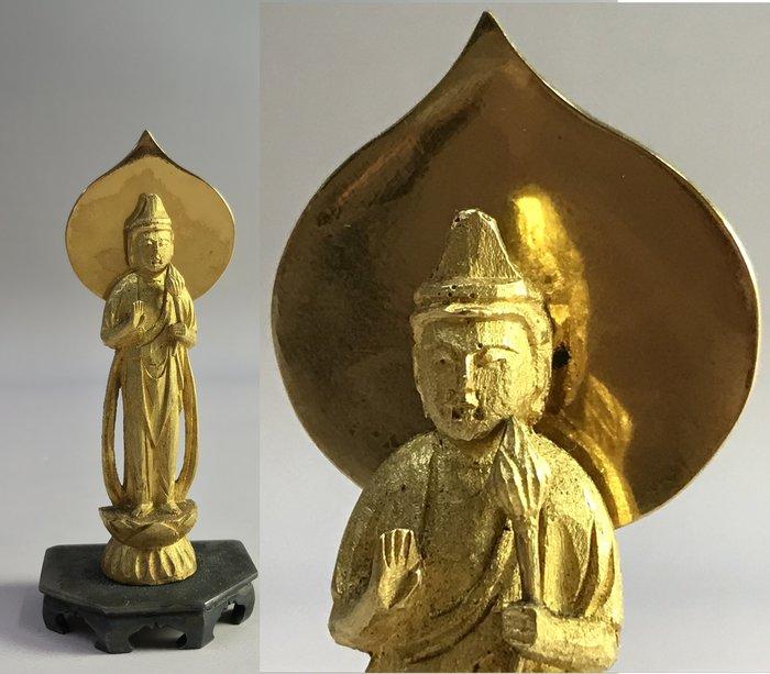 【藏舊尋寶屋】老日本 昭和年間造「純金聖觀音」附純銀佛座  117g 附木箱〈收藏 極上品〉